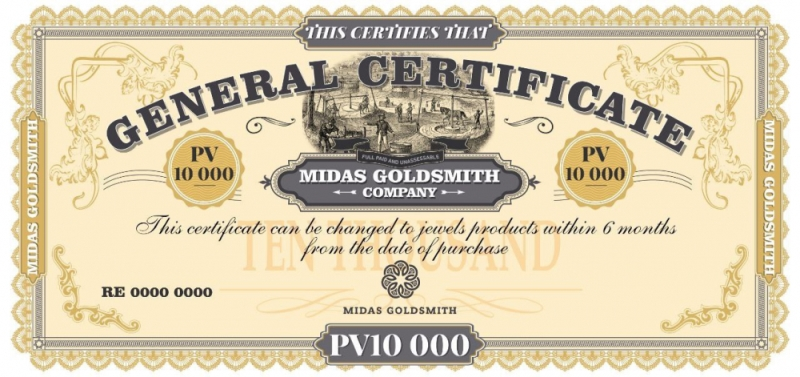 сертификат Midas Goldsmith